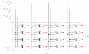 A SOM network with d inputs and a 2d lattice m1 x m2