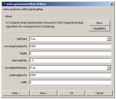 Self-Organizing Map's parameters in WEKA