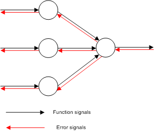 The directions of two basic signal flows in a multilayer  perceptron.